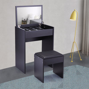 Vanity Table Set with Top Mirror Stool Makeup Dressing Table