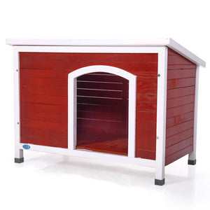 Medium Dog House Pet Shelter Home Outdoor Ground Wood Kennel Weather Resistant