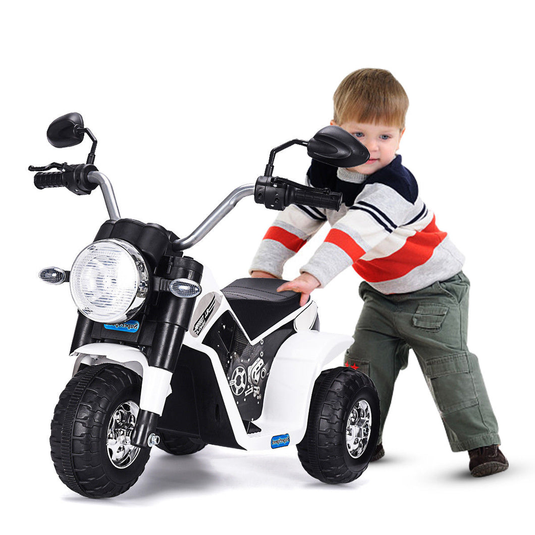 3 Wheel Kids Ride Motorcycle 6V Battery Powered Electric Toy Power Bicycle White