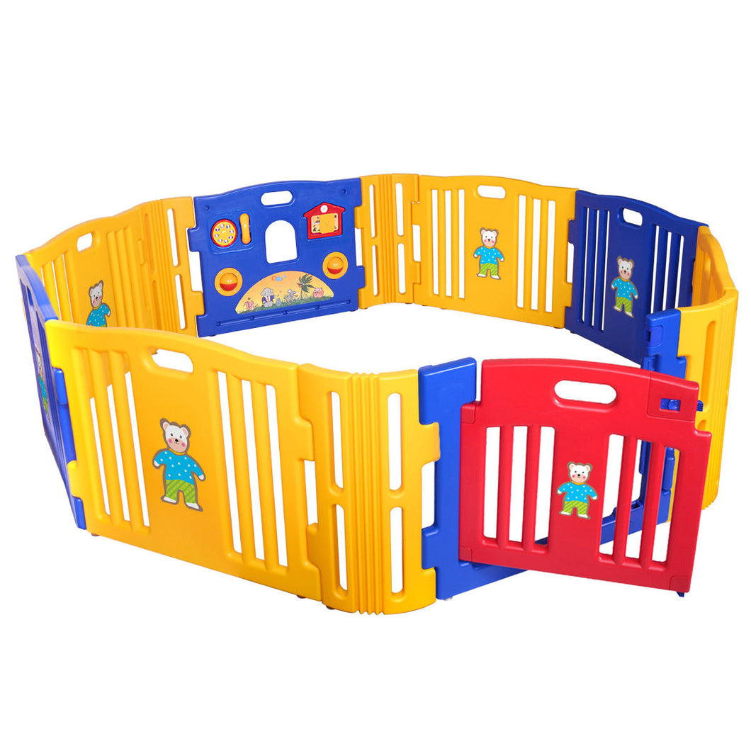 Baby Playpen Kids 12 Panel Safety Play Center Yard Home Indoor Outdoor Pen Plus