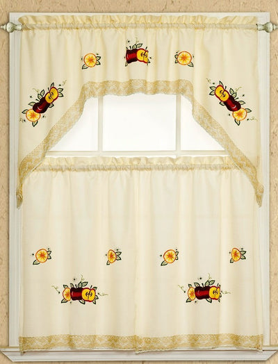 Apple Lace 3pc Kitchen Curtain - Expo Home Decor Kitchen Curtain - home goods