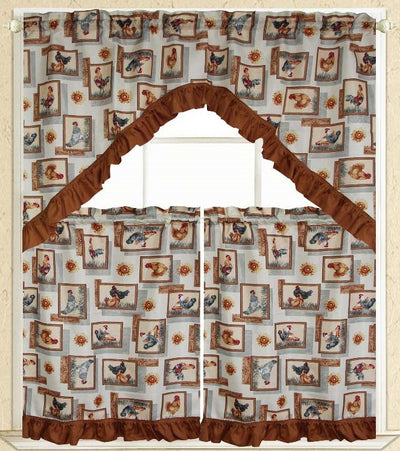 Roosters 3pc Kitchen Curtain - Expo Home Decor Kitchen Curtain - home goods