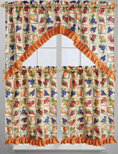 Fruit Box 3pc Kitchen Curtain - Expo Home Decor Kitchen Curtain - home goods