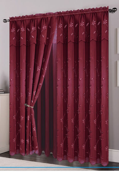Gigi Embroided Window Panel - Expo Home Decor Window Curtain - home goods