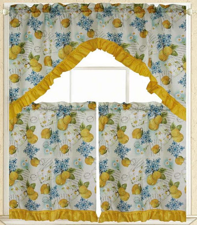 Limoncello 3pc Kitchen Curtain - Expo Home Decor Kitchen Curtain - home goods
