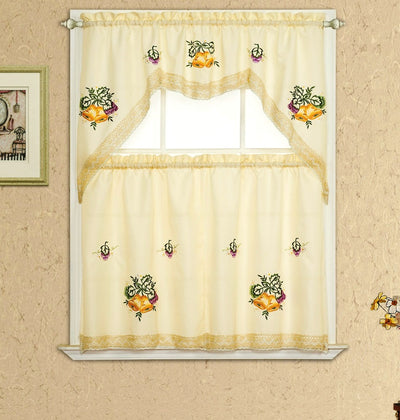 Pear Lace 3pc Kitchen Curtain - Expo Home Decor Kitchen Curtain - home goods