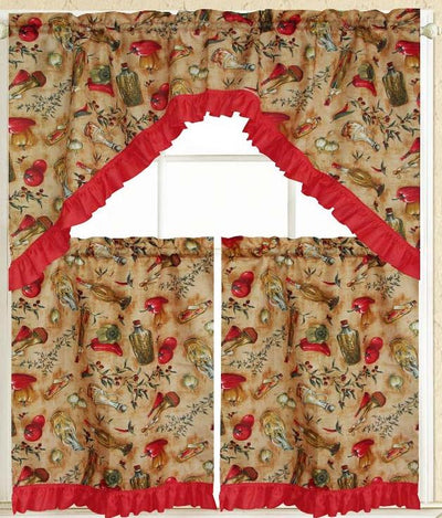 Peppers & Oil 3pc Kitchen Curtain - Expo Home Decor Kitchen Curtain - home goods