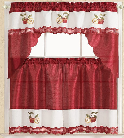 Red Apple 3pc Kitchen Curtain - Expo Home Decor Kitchen Curtain - home goods