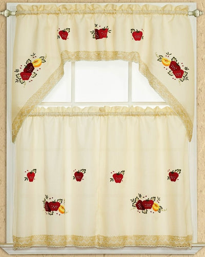 Strawberry Lace 3pc Kitchen Curtain - Expo Home Decor Kitchen Curtain - home goods