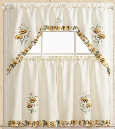 Sunflower 3pc Kitchen Curtain - Expo Home Decor Kitchen Curtain - home goods