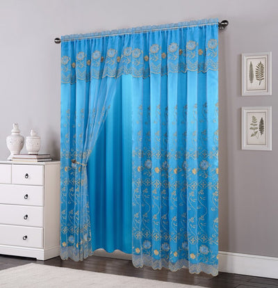 Shannon Embroided Window Panel - Expo Home Decor Window Curtain - home goods