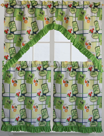 Tapenade Green 3pc Kitchen Curatain - Expo Home Decor Kitchen Curtain - home goods