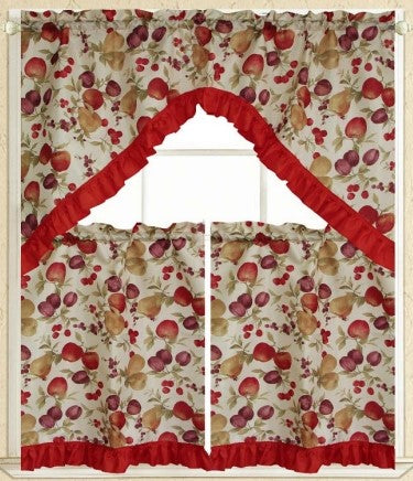 Tuti Fruity 3pc Kitchen Curtain - Expo Home Decor Kitchen Curtain - home goods