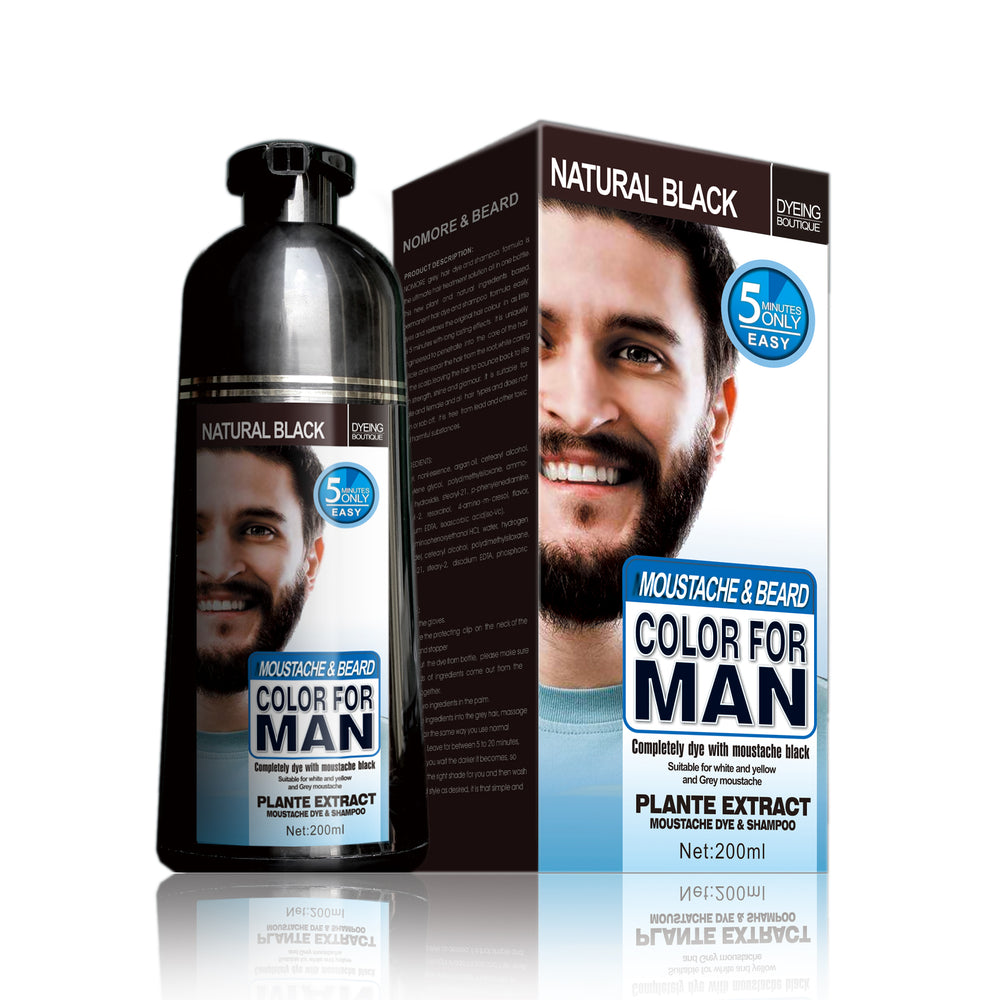 Black beard color dye shampoo for men