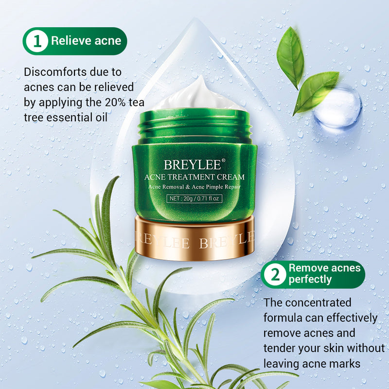 Tea tree face anti acne and black spot removal cream for acne skin - BREYLEE 20g