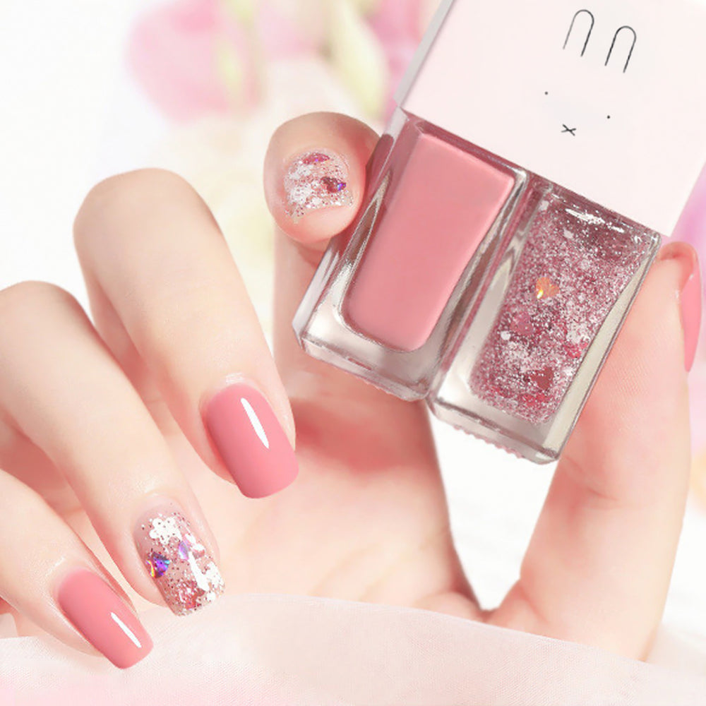Cutie 2 in1 Nail Polish with glitter #B12