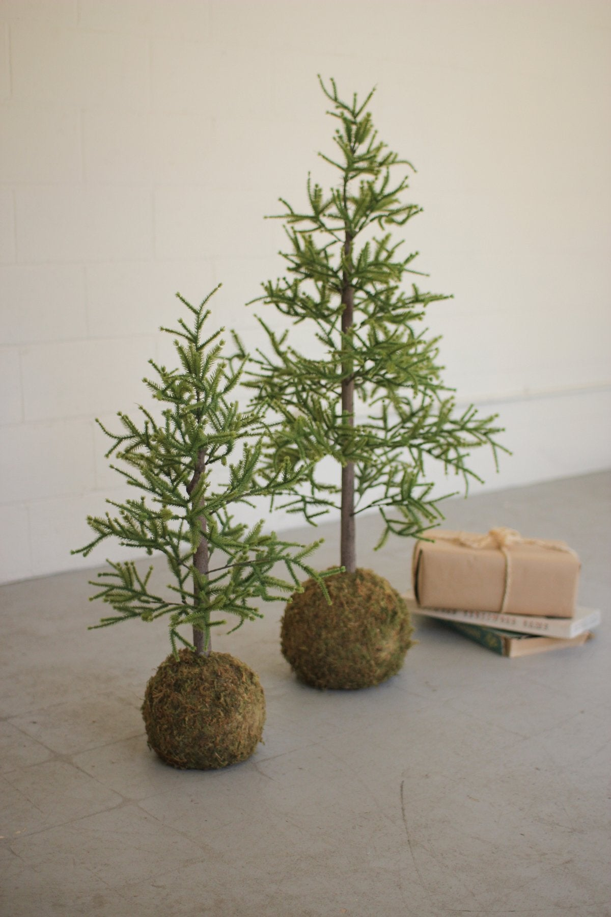 Pair of Faux Pine Trees with Round Moss Base