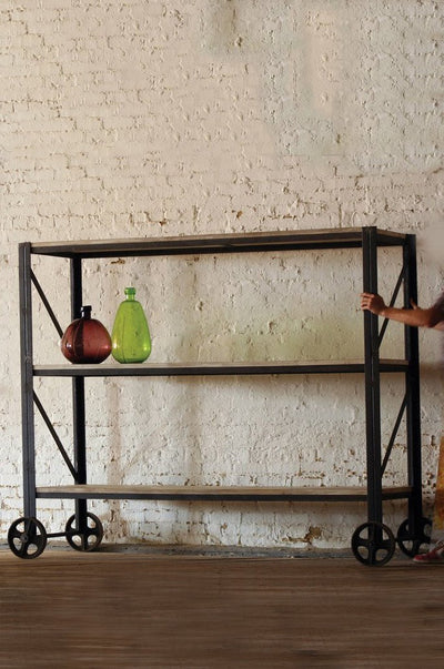 Urban Farmhouse Designs Giant Rustic Iron And Wood Rolling Shelving Unit