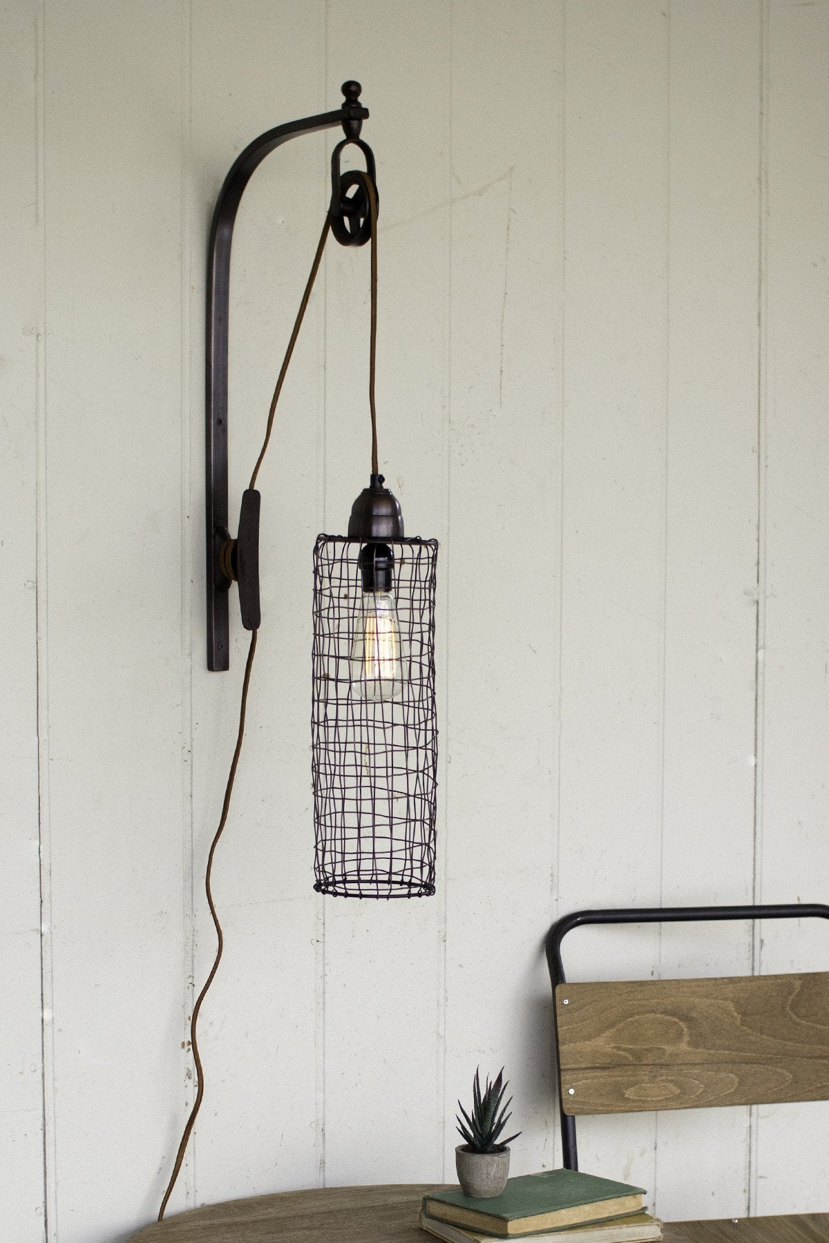 Wire Cylinder Wall Lamp With Pulley | Urban Farmhouse Designs