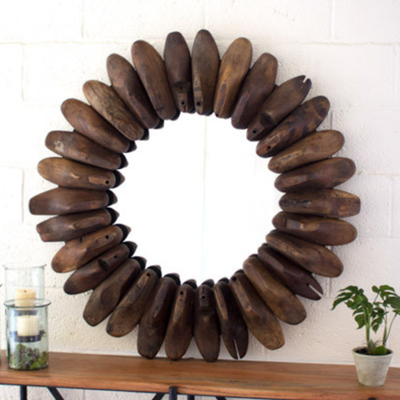 Antique Wooden Shoe Mold Mirror