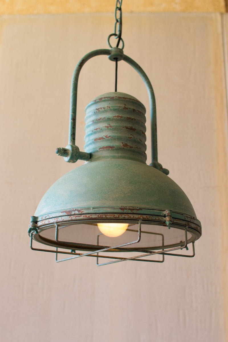 Antique Turquoise Pendant Light with Glass and Wire Cage | Urban ...