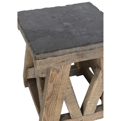 Urban Farmhouse Designs Trestle End Table - Stone Top
