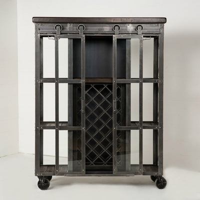 Urban Farmhouse Designs Signature Rolling Barn Door Wine Cabinet