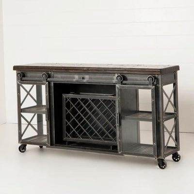Urban Farmhouse Designs Signature Rolling Barn Door Wine Console