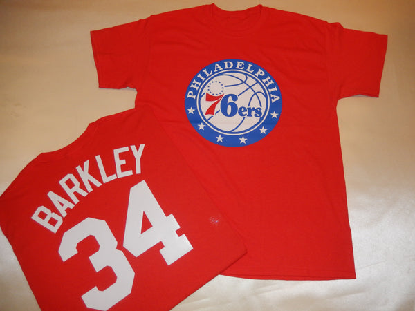 Philadelphia 76ers CHARLES BARKLEY Name and Number Shirt RED