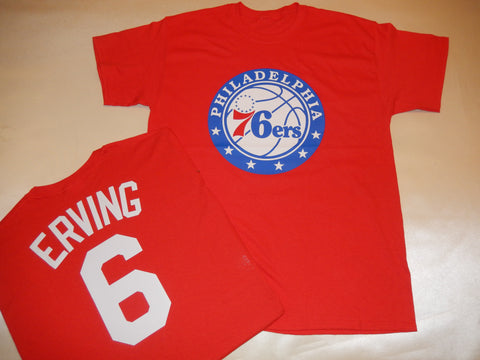 Philadelphia 76ers JULIUS ERVING Name and Number Shirt RED