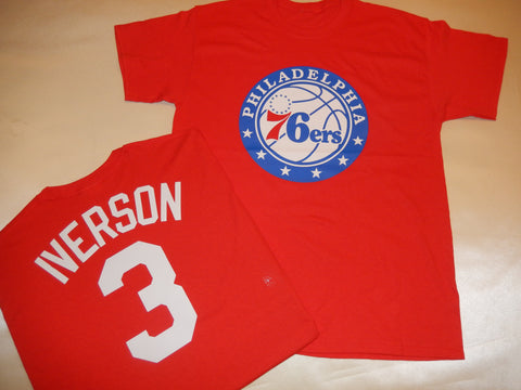 Philadelphia 76ers  ALLEN IVERSON Name and Number Shirt RED