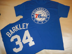 Philadelphia 76ers CHARLES BARKLEY Name and Number Shirt BLUE
