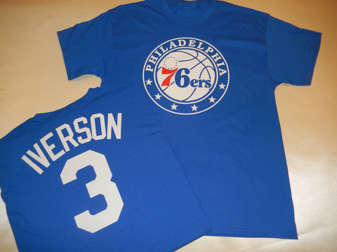 Philadelphia 76ers ALLEN IVERSON Name and Number Shirt BLUE
