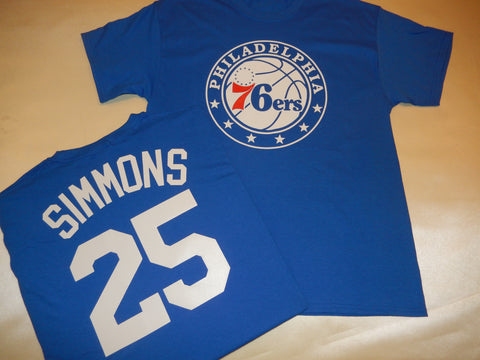 Philadelphia 76ers BEN SIMMONS Name and Number Shirt BLUE