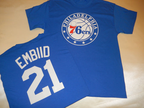 Philadelphia 76ers JOEL EMBIID Name and Number Shirt BLUE