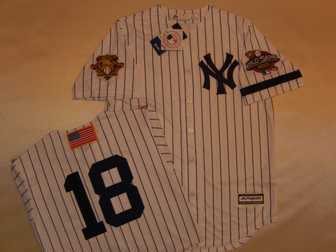 2001 New York Yankees World Series Jersey SCOTT BROSIUS WHITE P/S