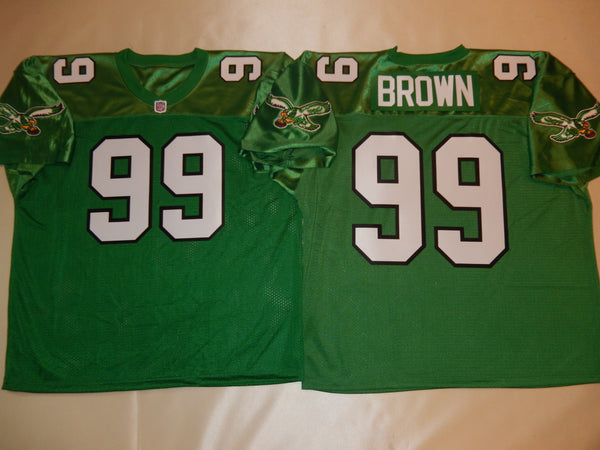 Philadelphia Eagles JEROME BROWN Sewn Throwback Vintage Football Jersey KELLY GREEN