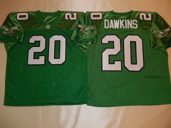 Philadelphia Eagles BRIAN DAWKINS Sewn Throwback Vintage Football Jersey KELLY GREEN