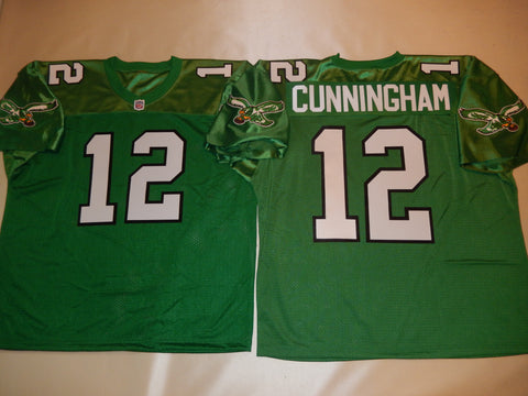 Philadelphia Eagles RANDELL CUNNINGHAM Sewn Throwback Vintage Football Jersey KELLY GREEN