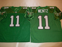 Philadelphia Eagles CARSON WENTZ Sewn Throwback Vintage Football Jersey KELLY GREEN