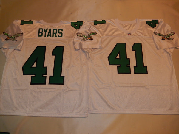 Philadelphia Eagles KEITH BYARS Sewn Throwback Vintage Football Jersey WHITE