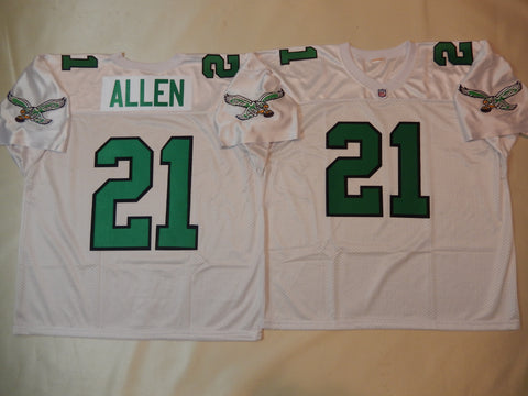 Philadelphia Eagles ERIC ALLEN Sewn Throwback Vintage Football Jersey WHITE