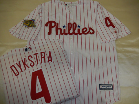 Philadelphia Phillies LENNY DYKSTRA 1993 World Series Baseball Jersey WHITE P/S