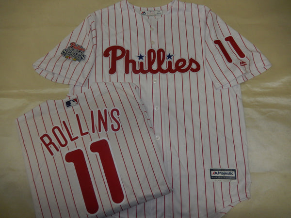 Philadelphia Phillies JIMMY ROLLINS 2008 World Series CHAMPIONS Baseball Jersey WHITE P/S