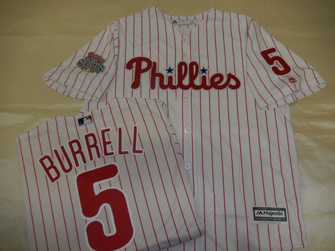 Philadelphia Phillies PAT BURRELL 2008 World Series CHAMPIONS Baseball Jersey WHITE P/S