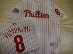 Philadelphia Phillies SHANE VICTORINO 2008 World Series CHAMPIONS Baseball Jersey WHITE P/S