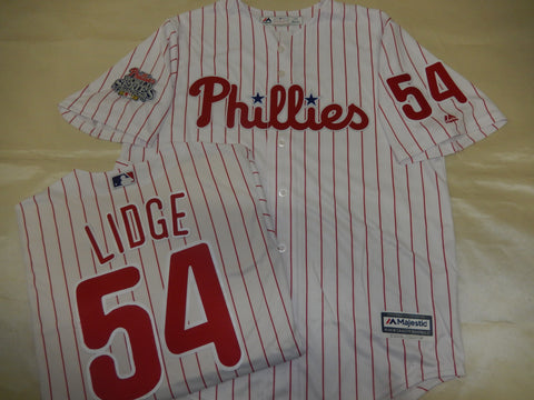 Philadelphia Phillies BRAD LIDGE 2008 World Series CHAMPIONS Baseball Jersey WHITE P/S
