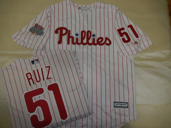 Philadelphia Phillies CARLOS RUIZ 2008 World Series CHAMPIONS Baseball Jersey WHITE P/S