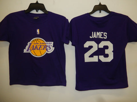 BOYS Youth Los Angeles Lakers LEBRON JAMES Basketball Shirt PURPLE
