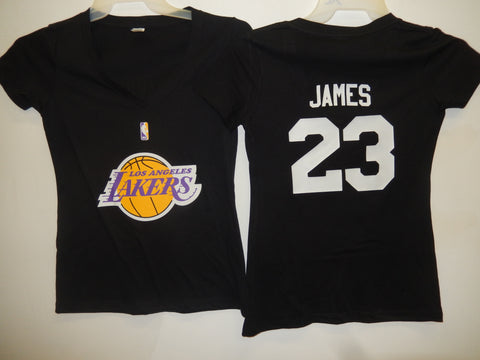 Womens Los Angeles Lakers LEBRON JAMES Basketball Shirt BLACK